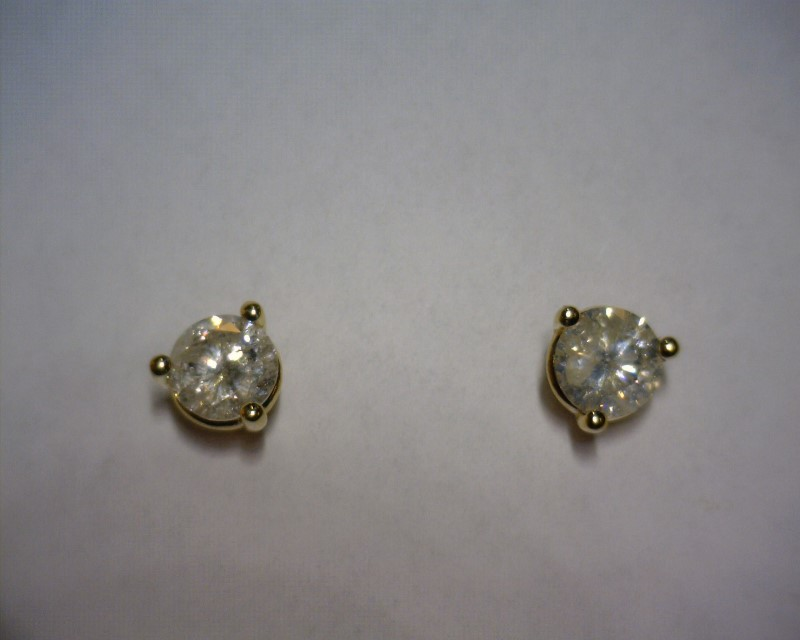 Gold-Diamond Earrings 2 Diamonds .91 Carat T.W. 14K Yellow Gold 0.9dwt