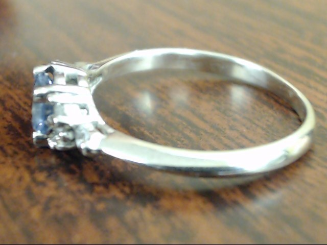 VINTAGE BLUE TOPAZ DIAMOND RING SOLID REAL 14K WHITE GOLD SIZE 5.25