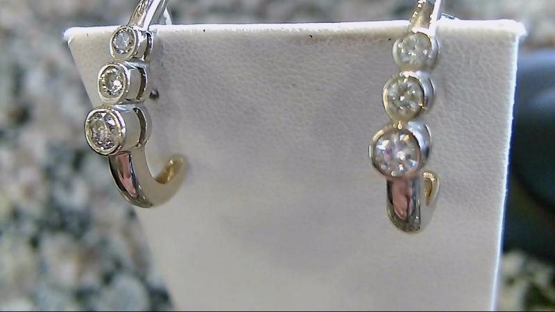Gold-Diamond Earrings 6 Diamonds .38 Carat T.W. 14K White Gold 3.7g