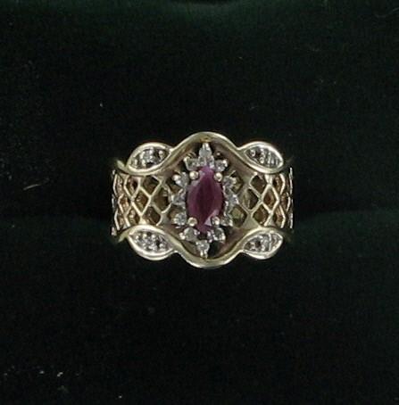 Ruby Lady's Stone & Diamond Ring 16 Diamonds .16 Carat T.W. 10K Yellow Gold