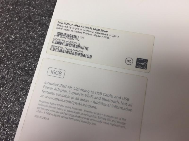 APPLE IPAD AIR 2ND GENERATION 16GB WHITE MGLW2LL/A