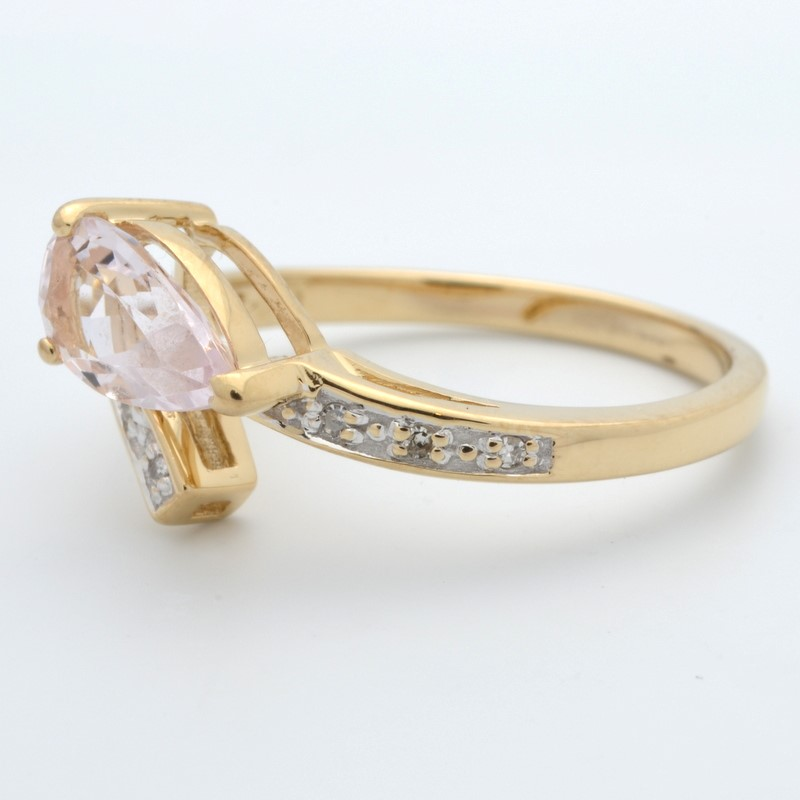 ESTATE PINK STONE RING SOLID 14K YELLOW GOLD PEAR CUT WRAP SIZE 7