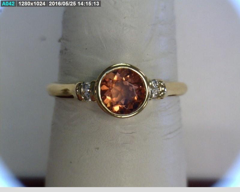 Orange Stone Lady's Stone & Diamond Ring 4 Diamonds .04 Carat T.W.