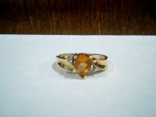 Orange Stone Lady's Stone & Diamond Ring 2 Diamonds .04 Carat T.W.