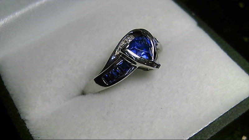 Trillion and Princess Cut Sapphire Lady's Stone 10K White Gold Ring