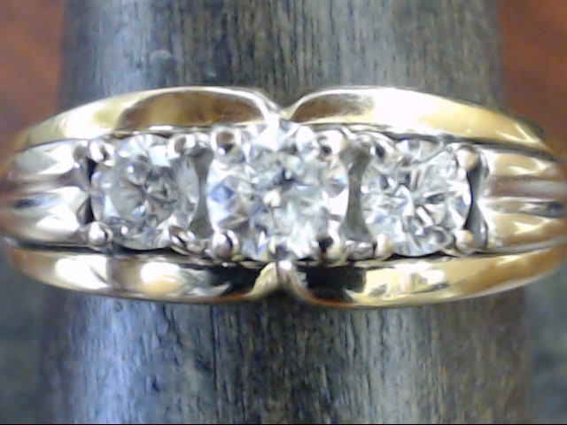 VINTAGE 3 DIAMOND ANNIVERSARY ENGAGE WED RING BAND 14K GOLD SZ 8.75