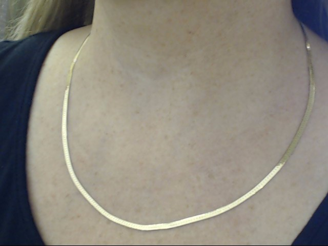 """VINTAGE HERRINGBONE NECKLACE CHAIN REAL 14K GOLD ITALY 7.4g 20.5"""""""
