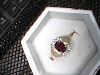 Red Stone Lady's Stone & Diamond Ring .01 CT. 14K Yellow Gold 2.67g