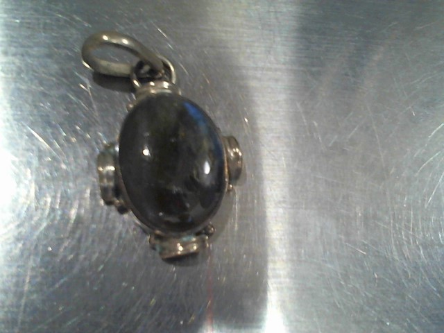 Synthetic Agate Silver-Stone Pendant 925 Silver 5.5g