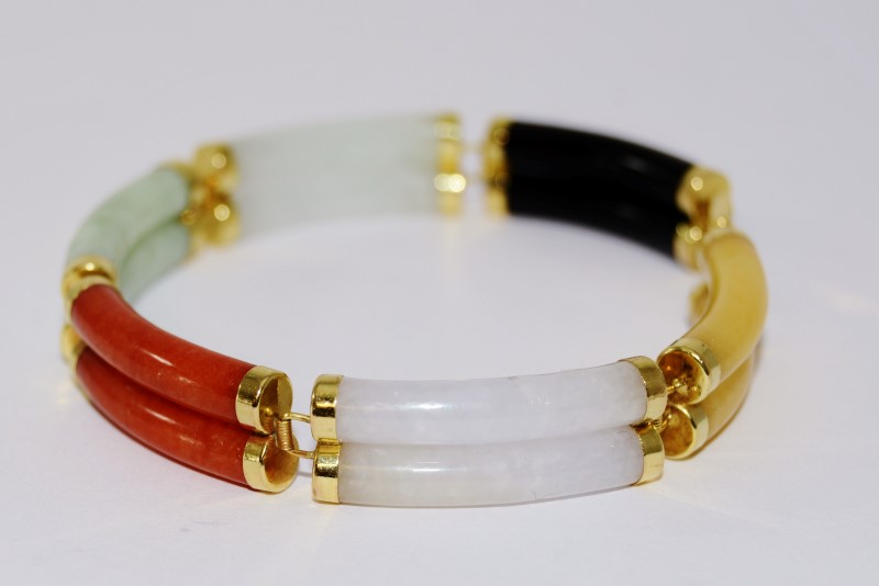 10K Yellow Gold Asian Inspired Black, Yellow, Orange, White Jade Bar Bracelet