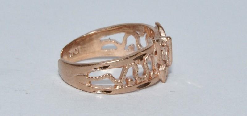 10K Rose Gold Open Work Milgrain Detail Butterfly Little Toe Ring sz 2