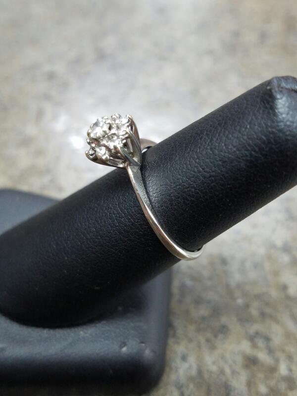 Lady's Diamond Cluster Ring 9 Diamonds .36 Carat T.W. 10K White Gold 1.21dwt