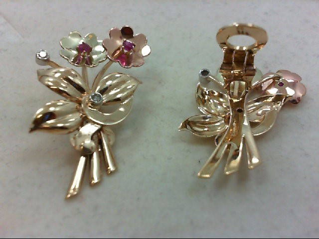 Ruby Gold-Diamond & Stone Earrings 4 Diamonds .20 Carat T.W. 14K Tri-color Gold