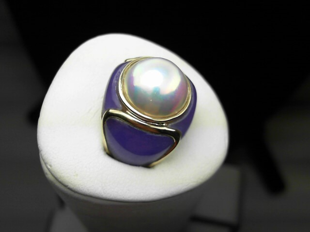 Purple Stone Lady's Stone Ring 14K Yellow Gold 8.1g
