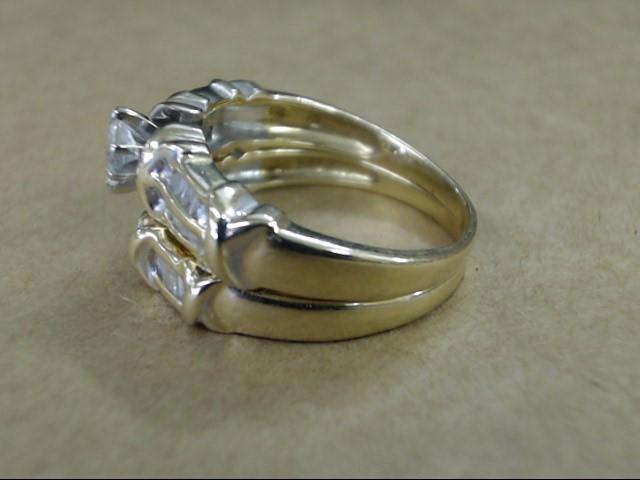 VINTAGE MARQUISE DIAMOND WED SET RING BAND ENGAGE 14K GOLD SZ 9.25