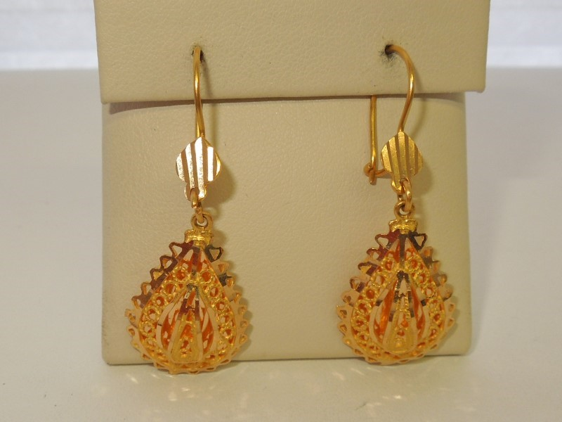 Gold Earrings 21K Yellow Gold 7.7g