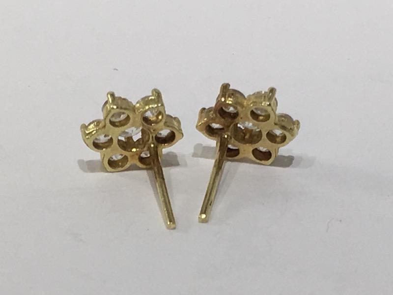 White Stone Gold-Stone Earrings 14K Yellow Gold 1.4g