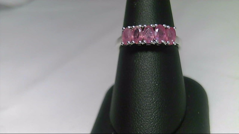 lady's sterling silver 935 5-5x3 oval pink stone ring 2.8g