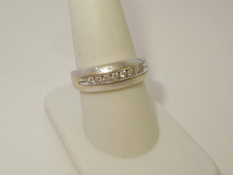 Lady's Diamond Wedding Band 8 Diamonds .40 Carat T.W. 14K White Gold 3.9g