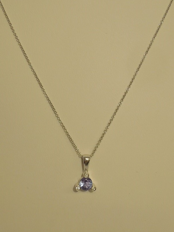 Tanzanite Diamond & Stone Necklace 3 Diamonds .03 Carat T.W. 14K White Gold