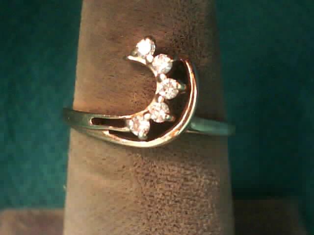 Lady's Gold-Diamond Ring Guard 5 Diamonds .025 Carat T.W. 10K Yellow Gold