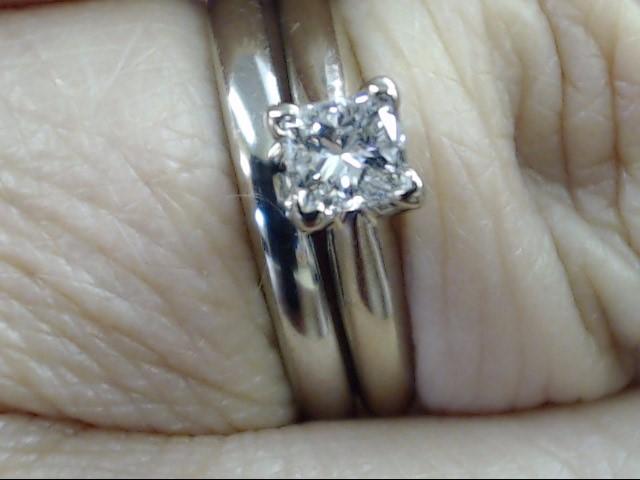 VINTAGE PRINCESS DIAMOND WEDDING SET RING BAND 10 WHITE GOLD SIZE 6