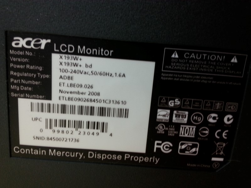"ACER MONITORS X193W 19"""