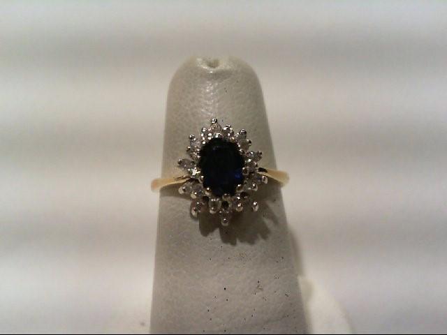Sapphire Lady's Stone & Diamond Ring 20 Diamonds .30 Carat T.W. 14K Yellow Gold