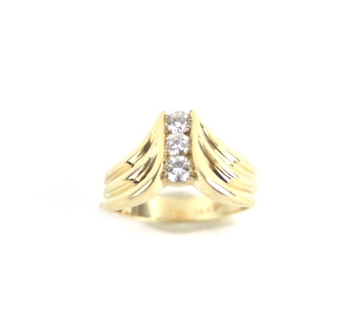 Lady's 14KT YG Diamond Chevron Ring .36 CTW 5.3G Size 6