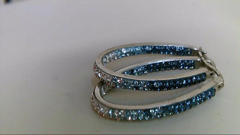 Blue Stone Silver-Stone Earrings 925 Silver 7.6g