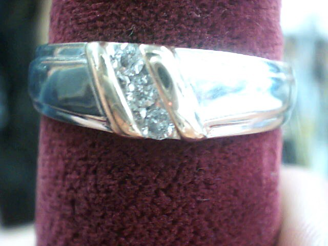 Gent's Gold-Diamond Wedding Band 3 Diamonds .12 Carat T.W. 10K White Gold
