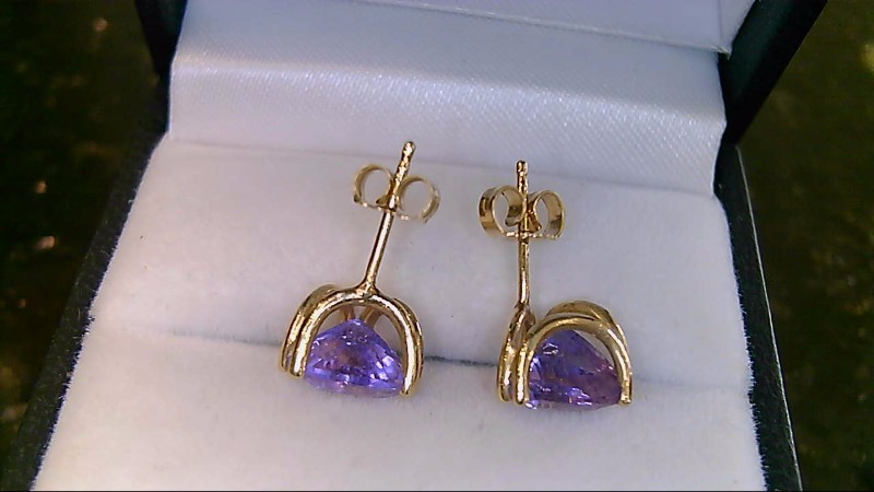 Lady's 14k yellow gold triangular cut amethyst earrings