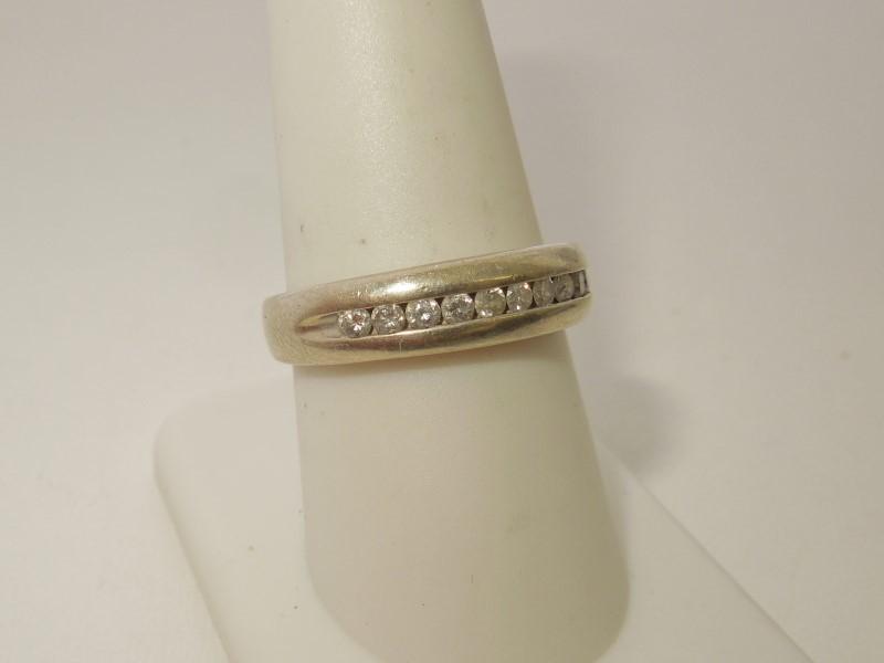 Lady's Diamond Wedding Band 10 Diamonds .30 Carat T.W. 10K White Gold 5.2g