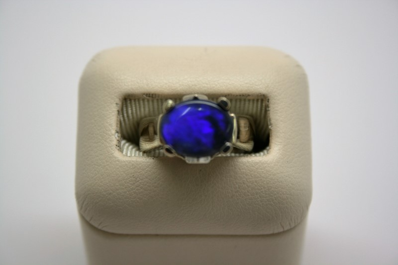 LADY'S BLUE OPAL RING 14K WHITE GOLD