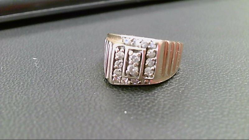Gent's Diamond Fashion Ring 16 Diamonds .28 Carat T.W. 14K Yellow Gold 6.5g