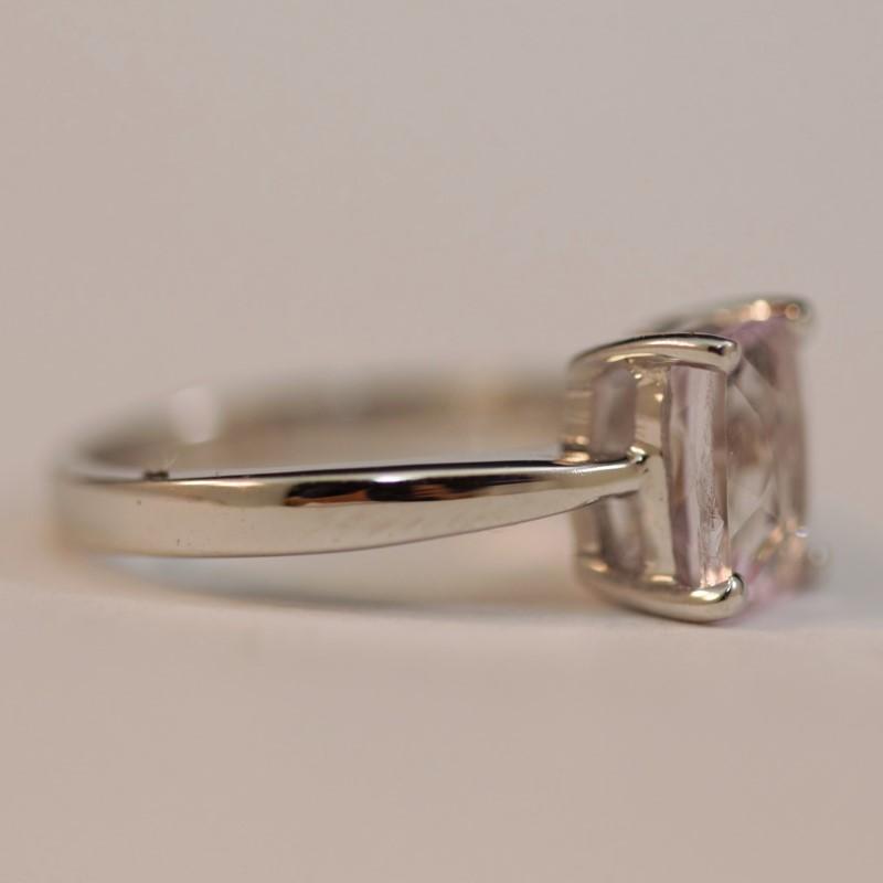 Silver Emerald Cut Kunzite Ring Size 5