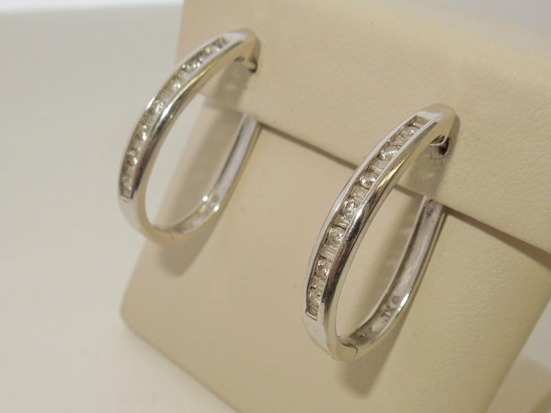 Gold-Diamond Earrings 30 Diamonds .30 Carat T.W. 14K White Gold 5.3g
