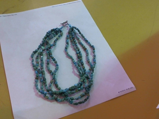 Synthetic Turquoise Stone Necklace 925 Silver 10g