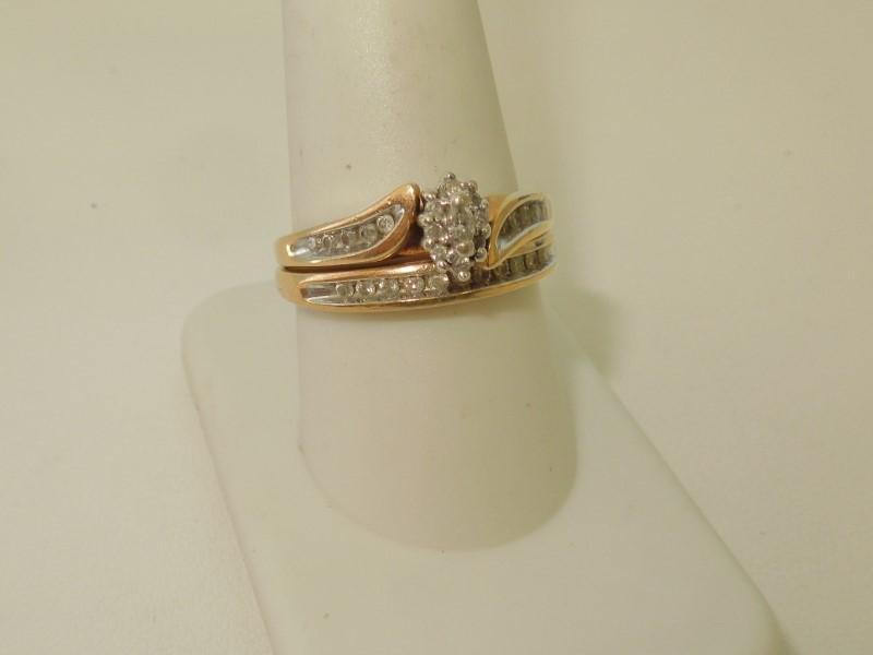 2 PIECE DIAMOND WEDDING SET 10K Y/G