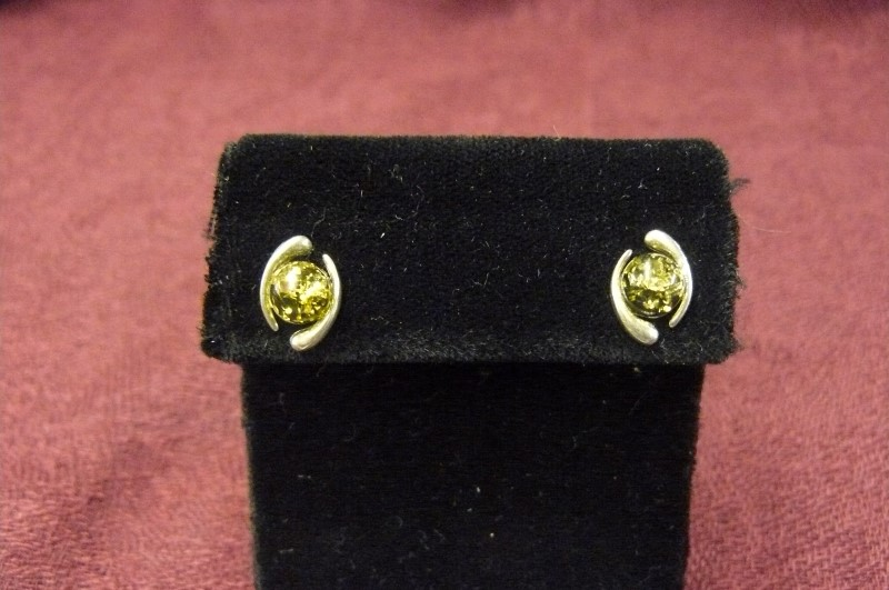 Synthetic Amber Silver-Stone Earrings 925 Silver 1.09dwt