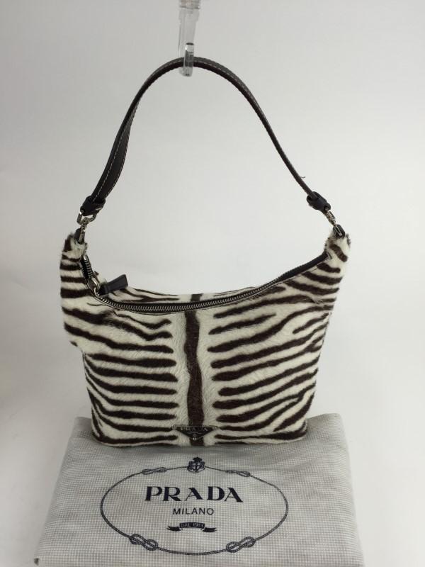 PRADA Handbag CALF HAIR ZEBRA SHOULDER BAG BIANCO MORO