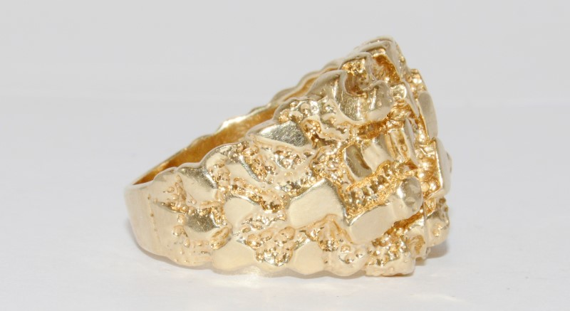 14K Unique Men's Yellow Gold Nugget Ring Size 10