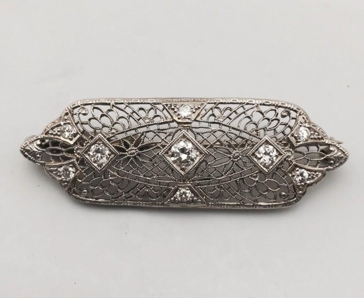 Gold-Diamond Brooch 9 Diamonds .70 Carat T.W. 14K White Gold 5.8g