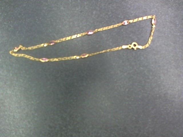 Pink Stone Gold-Stone Bracelet 10K Yellow Gold 2g