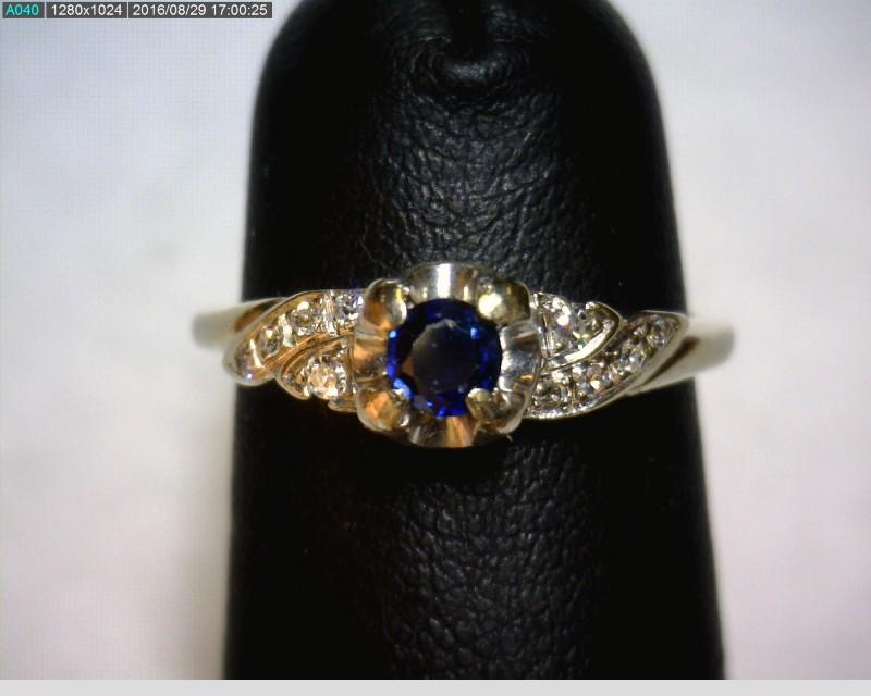 Sapphire Lady's Stone & Diamond Ring 10 Diamonds .12 Carat T.W. 18K White Gold