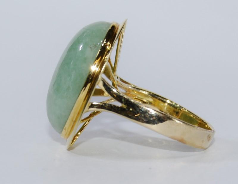 14k Yellow Gold Full Bezel Light Green Jade Statement Ring Size:7