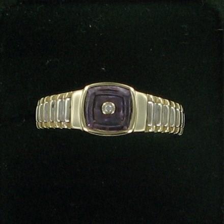 Pink Stone Lady's Stone & Diamond Ring .01 CT. 10K Yellow Gold 3.4dwt