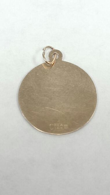 "ISLAND OF ARUBA 14K GOLD CHARM, 1/2"" ROUND, 0.08 GRAMS, EXCELLENT."