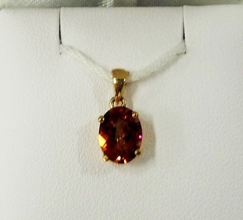 Synthetic Citrine Gold-Stone Pendant 14K Yellow Gold 0.85g