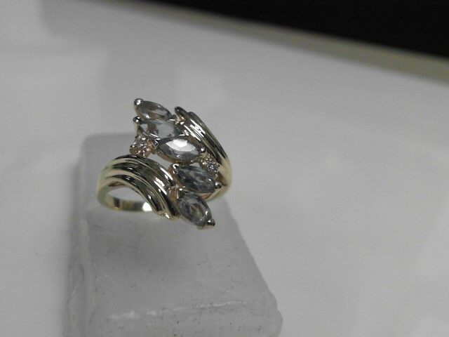 Blue Topaz Diamond Ring 14K Yellow Gold 3.55g